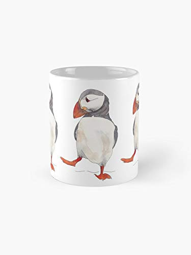 (3 Dancing Puffins Watercolor Illustration Mug - 11oz Mug - Best gift for family friends)