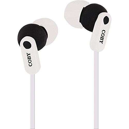 Coby White Headphone - Coby CV-E108WH Tangle Free Splash Stereo Earbuds CVE108 White