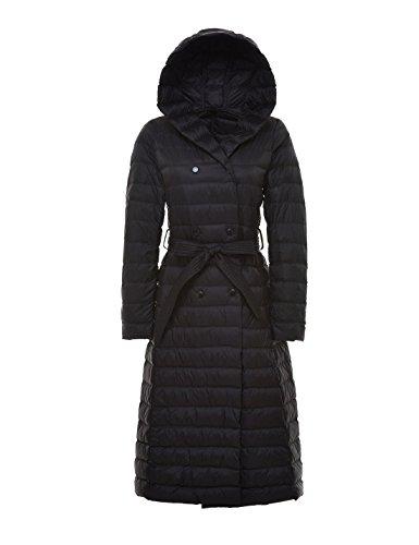 Gihuo Women's Hooded Ultra Light Belted Down Parka Long Puffer Jacket (Medium, Black)
