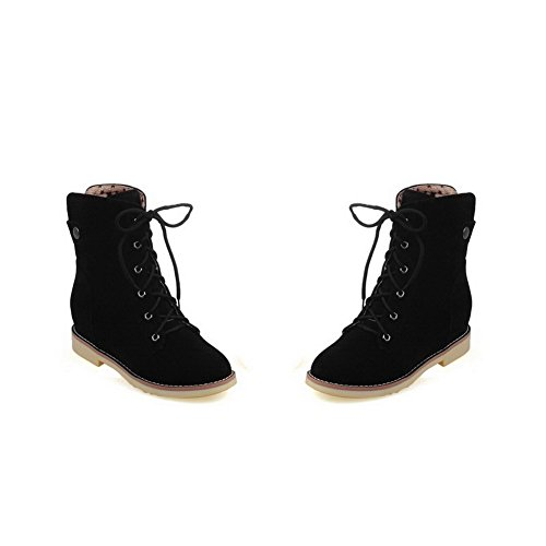 AgooLar Women's Round-Toe Low-Heels PU Solid Lace-up Boots Black zoClC