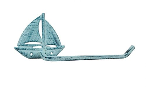 - Handcrafted Model Ships Rustic Dark Blue Whitewashed Cast Iron Sailboat Toilet Paper Holder 11