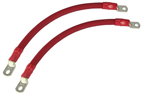 Temco 2 LOT 2 0 Gauge 18in – 3 8 in Hole Sizes Red Solar Battery Cables Power AWG Solar Inverter Golf Cart Car GLUE SEALED
