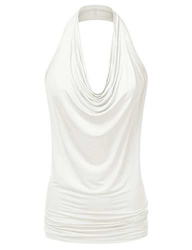 (NINEXIS Women's Halter Neck Draped Front Open Back Top OFFWHITE)