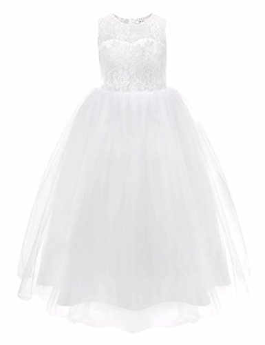 FEESHOW Kids Girls Floral Lace Flower Dress First Communion Wedding Party Tulle Gown White (Big Puffy Dresses For Halloween)