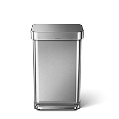 simplehuman Liner Rim Rectangular Step Trash Can with Liner Pocket, Stainless Steel, 45 Liter / 11.9 Gallon