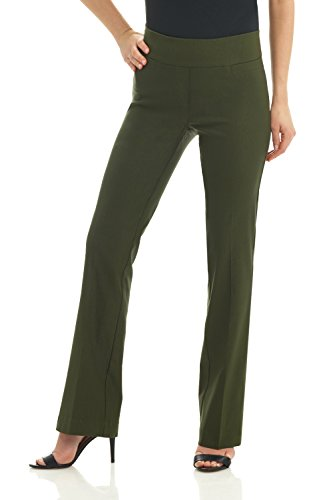 Rekucci Women's Ease In To Comfort Boot Cut Pant (16,Olive)