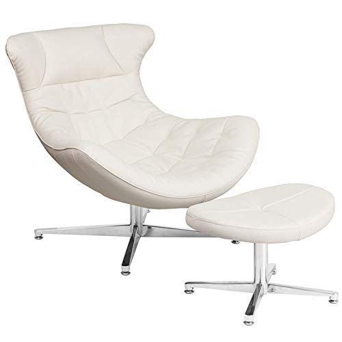 - Rabinyod Bulan Retro Style White Leather Cocoon Accent Chair with Ottoman Cocoon Lounge Chair