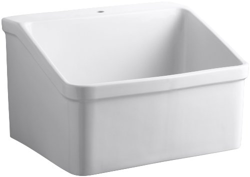 Kohler K-12793-0 Hollister Utility Sink with Single-Hole Faucet Drilling, White