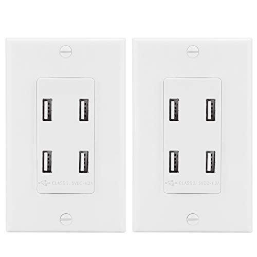 [2 Pack] BESTTEN 4-Port USB Wall Receptacle Outlet, 4.2A High-Speed USB Charging Center, Decorator Wall Plate Included, No Grounding Screw, ETL Certified, White ()