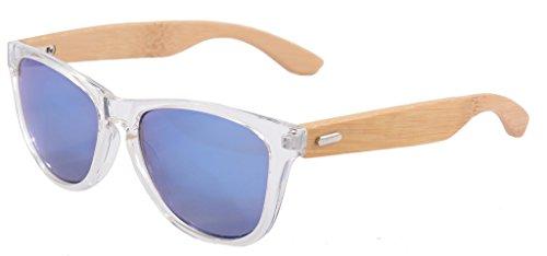 SHINU Retro Wayfarer Sunglasses Mirror Lens Bamboo Wood Arm Sunglasses-Z6100(transparent-bamboo,ice - Transparent Eyewear