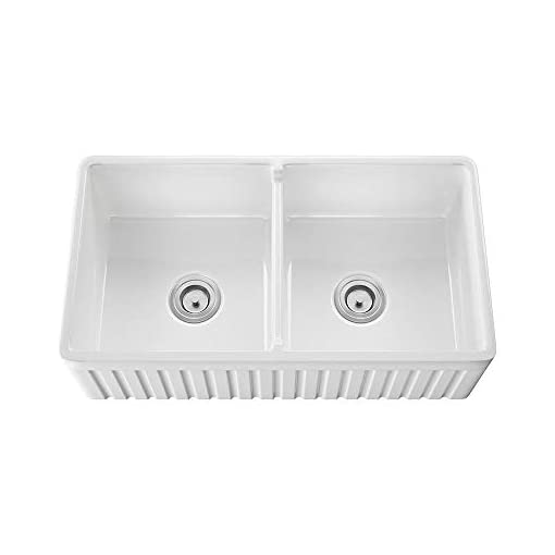 Farmhouse Kitchen MR Direct 416 Fireclay Double Bowl Farmhouse Kitchen Sink, White farmhouse kitchen sinks