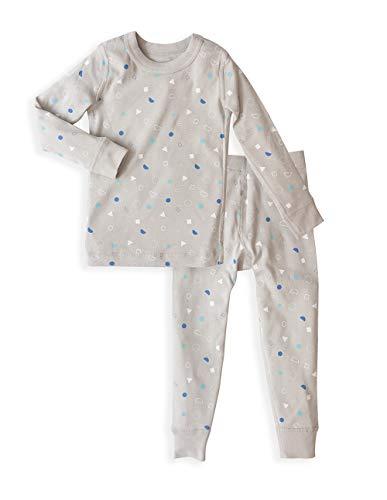 Skylar Luna Toddler Boys Long Sleeve Pajama Set - 100% Soft Organic Cotton - Shapes ()
