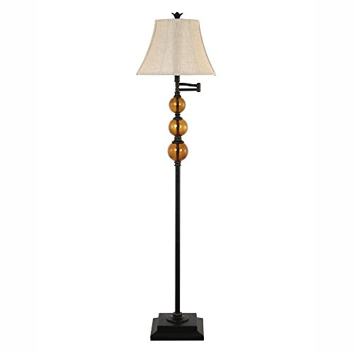 61 in. Dark Bronze Swing Arm Floor Lamp with Champagne Crackled Glass Globes and Pleated Linen Shade