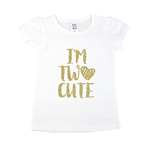 Olive Loves Apple 2nd Birthday Outfit Girl Gold I'm Two Cute Outfit Glitter Gold 2nd Birthday,White Short Sleeve -