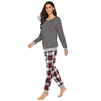 Ekouaer Women's Pajamas Sets Long Sleeve with Plaid Pants Soft Cotton Sleepwear O Neck Pjs Loung Set at  Women's Clothing store