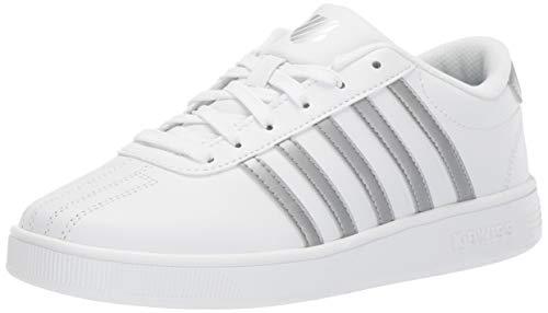 K-Swiss Unisex Classic Pro Sneaker White/Silver 2.5 M US Little Kid ()