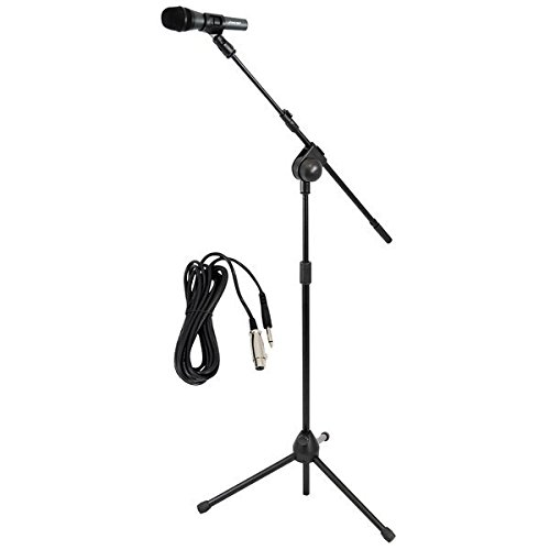 PYLE-PRO Dynamic Microphone and Tripod Stand -  Height Adjustable from 2.6' to 5.1' ft and Telescoping Boom Arm Mic Length 7.48'' Inch w/ Acoustic Pop Filter - Includes 15' ft XLR Cable PMKSM20 (Pro Pyle Tripod)