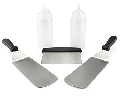 Griddle Tools Cooking Set 5-Piece w/ Scraper, 2 Spatula Turners & 2 Squeeze Bottles for Flat Top Grill, Griddle & Hibachi Cooking