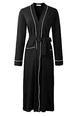 Genhoo Womens Soft Cotton Kimono Robe Wrap Bathrobe Sleepwear Loungewear Nightgown Long