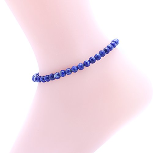 Super Lover AAA 6mm Natural Blue Lapis Lazuli Stone Beads Anklet