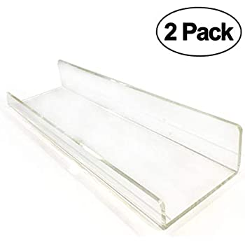 Amazon Com 2 Clear Contemporary Floating Shelves