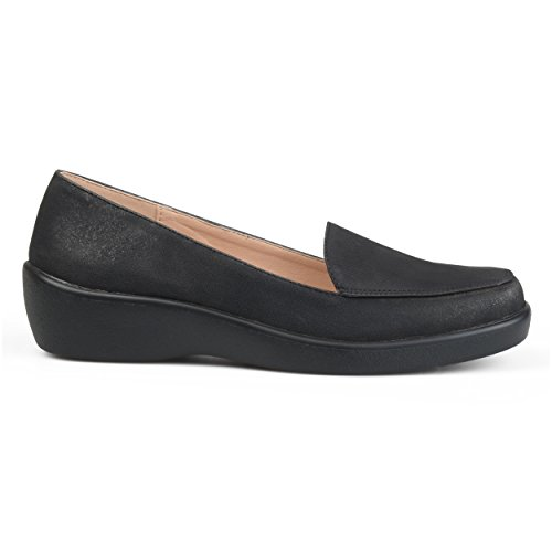 Brinley Co Womens Comfort Sole Faux Suede Square Toe Loafers Black yfl0cKuDr