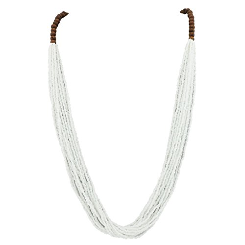 Bocar Long Multiple Row Handmade Beaded Statement Necklace with Gift Box (NK-10407-white) -