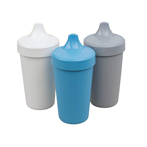 Re-Play Made in The USA 3pk Toddler Feeding No Spill Sippy Cups for Baby, Toddler, and Child Feeding - Sky Blue, Grey, White (Modern Blue) Durable, Dependable and Toddler Tough Sippy Cups