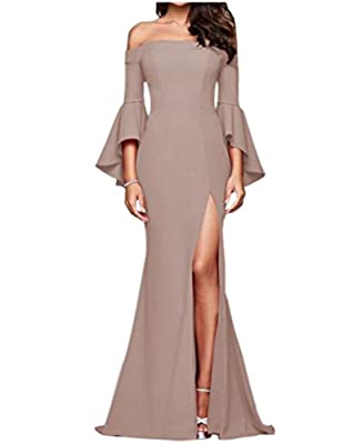 Engood Women Wrap Sexy Off Shoulder Strap Flare Sleeve Split Side Long Evening Party Dresses Cocktail Formal Gown For Women