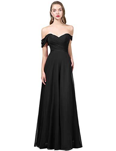 OYISHA Womens Off The Shoulder Chiffon Bridesmaid Long Evening Dress Formal  BD131 404985026700