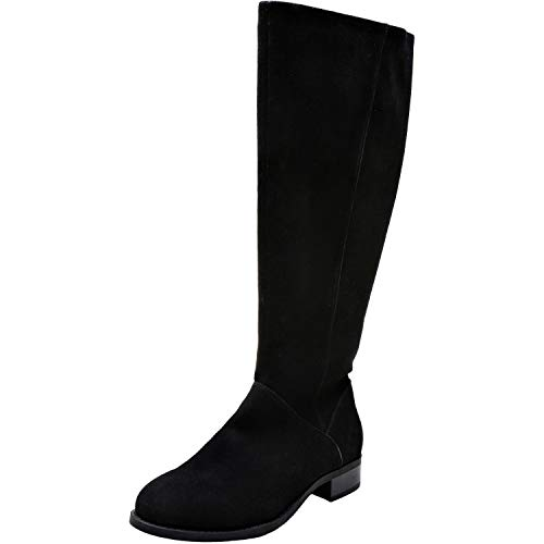 Aukusor Women's Wide Width Knee High Boots - Wide Calf Low Heel Sanding Upper Elastic Band Side Zipper Winter Boots.(180905 Black -