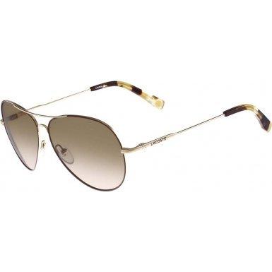 Lacoste UV Protection Non Polarized Aviator Sunglasses Gold - Sunglasses Unisex Lacoste