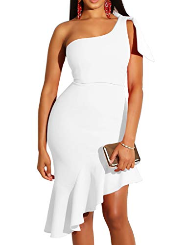 Mokoru Women's Sexy One Shoulder Sleeveless Ruffle Bodycon Midi Club Party Dress, Small, Pure White
