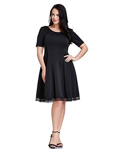 LookbookStore Womens Plus Size Black Crochet Hem Skater A-line Knee Length Dress 2X
