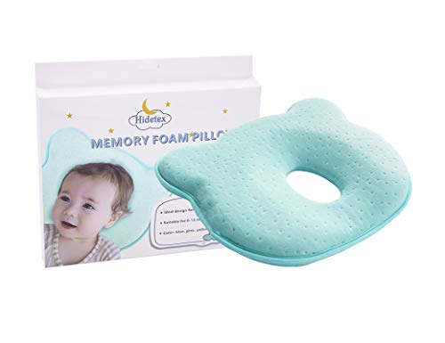 Hidetex Baby Pillow - Preventing Flat Head Syndrome (Plagiocephaly) for Your Newborn Baby,Made of Memory Foam Head- Shaping Pillow and Neck Support (0-12 Months)