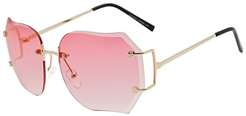 Oversized 70s Classic Large Rimless Laser Cut Lens Sunglasses Women's Frameless Clear Lenses Eyewear Glasses (Gold | Pink, - 70 Glasses Style