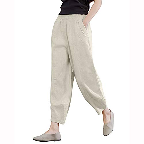 DEATU Lightning Deals! Women Pants Ladies Fashion Casual Loose Linen Lantern Tapered Elastic Waist Pants Trousers with ()