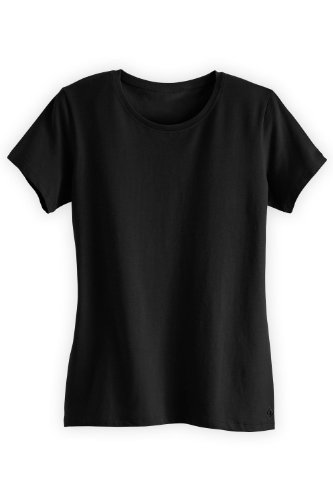 Fair Indigo Fair Trade Organic Essential Relaxed Crew Neck Tee (L, Black) (T-shirt Crewneck Essential Womens)