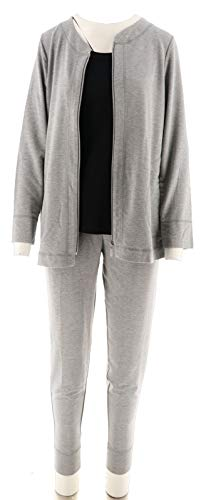 Carole Terry - Carole Hochman French Terry 3 Pc Jogger Pant Lounge Set Grey M # A302146