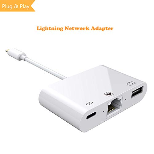 3 in 1 Lightning to RJ45 Ethernet LAN Wired Network Adapter, iPhone iPad to USB Camera Adapter Kit, HkittyXiong Lightning to USB OTG Adapter Cable (White) from Hkitty Xiong