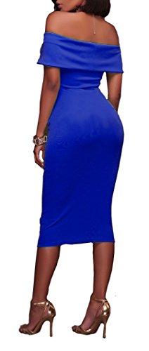 Colore Nuovo Blue Ginocchio Maniche Donna Dresses Sera Spalla Abiti Puro Tubino Da Di Vestito Con Bandeau Parola Navy Dress Vestitini Estivi Cerimonia Al Eleganti Vestiti Matita Per Partito Abito Abbigliamento C77t1qa