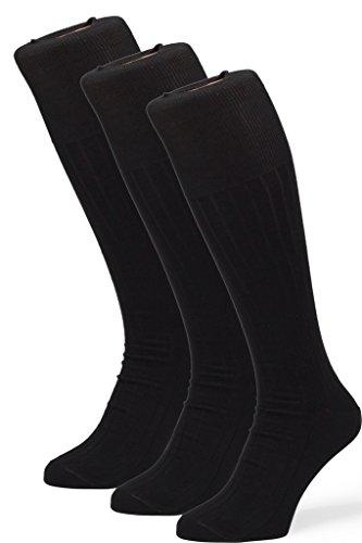 Mercerized Cotton Dress Sock (Easton Marlowe 3 Pack Mercerized Cotton Over-The-Calf Ribbed Dress Socks - Black - 39-42)