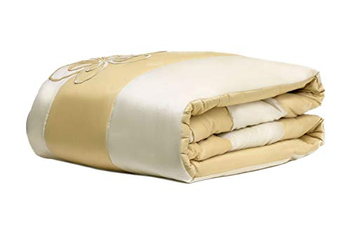 WPM Designer Collection Bedding Set 7 Piece Beige Cream/Gold Luxurious Bed in a Bag King Size Comforter Flower Embroidered Includes 1 Comforter, 2 Shams, 1 Bedskirt, 3 Décorative Pillows by WPM (Image #1)