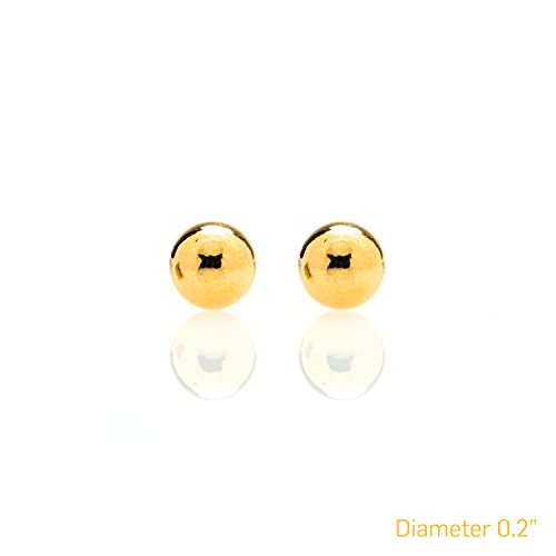 Best Ball Stud Earrings Large 24k Gold Over Semi Precious Metals