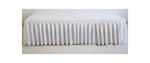SunnyWarm 30Cm High X 600 cm Long Ice Silk Wedding Stage Table Skirt for Wedding White Table Skirting Table Cloth,White ()