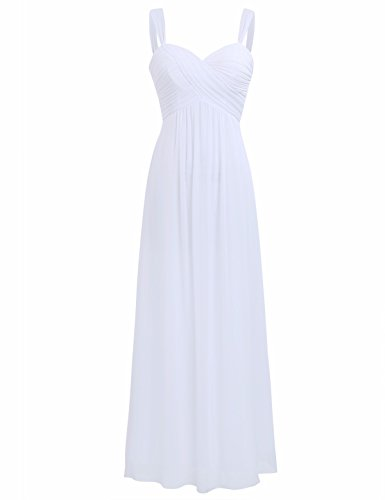 FEESHOW Elegant Women's Chiffon Bridesmaid Long Dress Empire Waist Prom Evening Gowns White 12