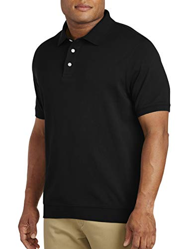 Harbor Bay by DXL Big and Tall Soft Interlock Banded-Bottom Shirt Black 3XL