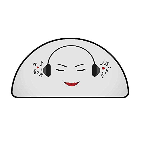 Music Decor Comfortable Semicircle Mat,Young Lady Listening Music with Earphones Smiling Close Eyed Girl Enjoying Melody Theme for Living Room,39.3