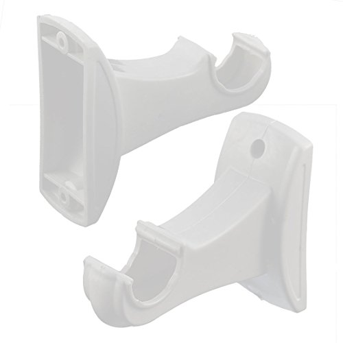 uxcell Hollow Wall Mount Single Groove Plastic Drapery Curtain Pole Bracket White - Wall Bracket Mount Curtain