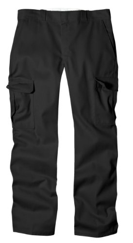 Dickies Men's Relaxed Straight Fit Cargo Work Pant, Black, 40x34
